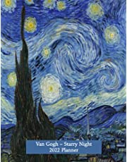 Van Gogh Starry Night 2022 Planner: Classical art design A4 Letter vertical at a glance weekly planner with calendar & contacts. Perfect Christmas or birthday gift for work or home