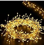 5.5Ft Cluster Lights - LED Fairy Starry Candleholder Wreath Garland String Lights - 160LEDs on Extra Thin Silver Copper Wire String w UL Listed Adaptor - Warm White Moon Lights