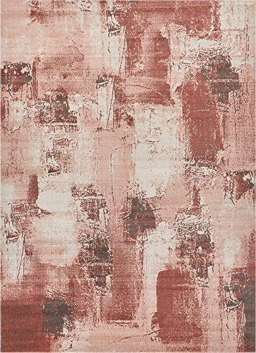 Well Woven Sandro Red Pink Grey & Ivory Modern Abstract Short Pile Kilim Style 8x11 (7'10