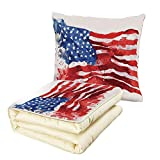 iPrint Quilt Dual-Use Pillow American Flag of America Watercolor Splash National Independence Symbol Abstract Art Multifunctional Air-Conditioning Quilt Red Blue White