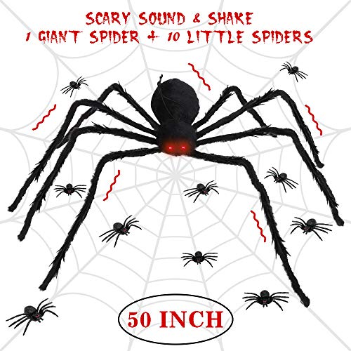 Easy Scary Halloween Decorations (LetsFunny Spider Decorations Giant Scary Halloween Spider, Fake Large Hairy Poseable Props Outdoor Decor Yard Spiders for Halloween Decorations, with 10 Little Spiders(Not Include)