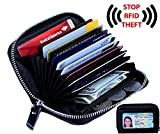 Women's Genuine Leather RFID Secure Spacious Cute Zipper Card Wallet Small Purse with ID Window (BLACK)
