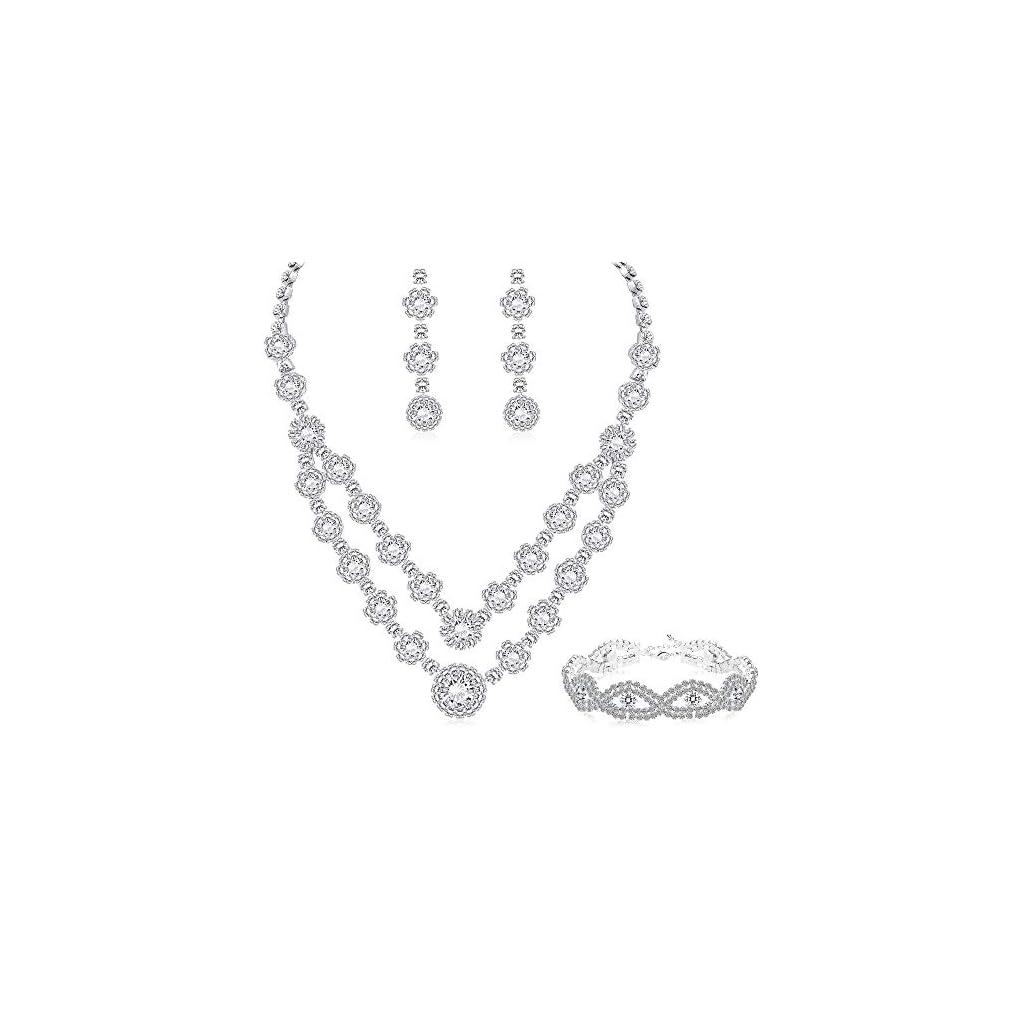 LOYALLOOK Rose Gold Silver Tone Bridal Crystal Bridal Jewelry Set for Women 2-Row Rhinestone Necklace Earrings Bracelet Set Prom Wedding Fashion Jewelry