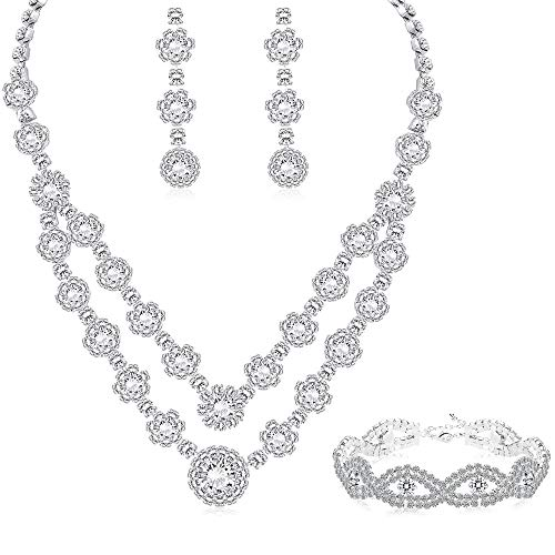 LOYALLOOK Silver Tone Bridal Crystal Bridal Jewelry Set for Women 2-Row Rhinestone Necklace Earrings Bracelet Set Prom Wedding Fashion Jewelry