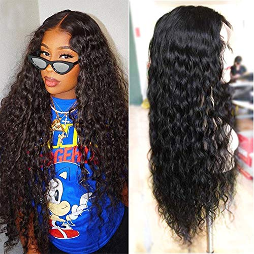 (Maxine Water Wave Lace Front Wigs for Black Women 9A Glueless Human Hair Wigs with Baby Hair Brazilian Virgin Hair Wet and Wavy Human Hair 130% Density Natural Color Lace Front Wig 14Inch)