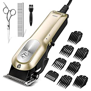 OMORC Dog Clippers with 12V High Power for Thick Coats, Professional Heavy Duty Dog Grooming Kit, Plug-in & Quiet Pet…