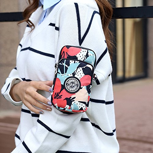Sports Morning Phone Crossbody Purse Bag Pouch 3 Bag Glory Zipper Waterproof Nylon Wrist Shoulder Layers Multifunctional vI6BxAA