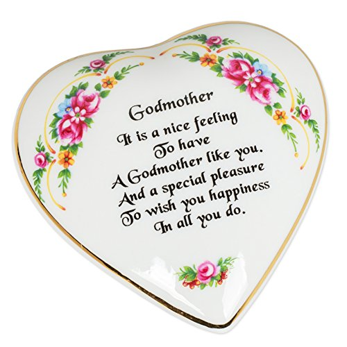 Porcelain Heart Keepsake Box - CBE Godmother Sentiment Floral Porcelain Heart Shaped Keepsake Box