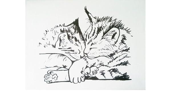 Arte original Gato tinta dibujo sobre lienzo de un besando gatitos ...
