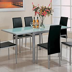 Amazon Com Dining Table With Frosted Glass Top Silver