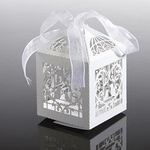 Worldoor 12PCS Heart Candy Boxes Wedding Party Lanterns Holder for LED Tealight Candle Laser Cut Candy Gift Boxes with Ribbon Wedding Party Favor Creative Favor Bags