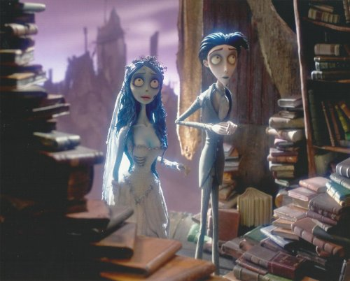 Corspe Bride Photo of Victor & Bride walking among books 8 x 10 PHOTO cropped full bleed to ()