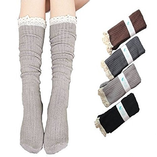Losuya® 4 Pack Women Lace Trim Cotton Knit Footed Leg Boot Knee High Stocking