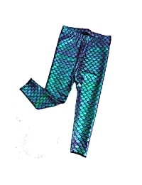 Zooarts Toddler Baby Girls Mermaid Leggings Skinny Pants Fish Scale Trousers Tights