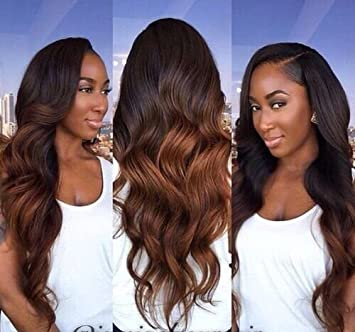 Long lace front synthetic wigs blonde ombre wig dark root body wave wigs Brazilian Hair synthetic