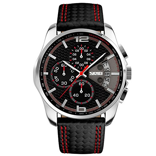 Sports Watches for Men,SKMEI Chronograph Auto Date Casual Quartz Watch Men,Water Proof Black Leather Strap Miltiary Mens Watches (red)