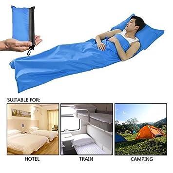 Middletone Saco de dormir,fácil de llevar y limpiar,sábana con cierre,funda de viaje,para viaje y camping de verano(color azul): Amazon.es: Deportes y aire ...