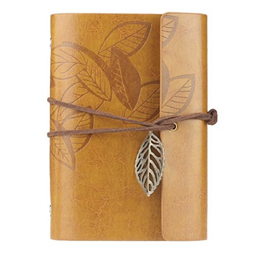 Tinksky PU Cover Journal Notebook Diary Vintage Style Loose-leaf String Bound(Yellow)