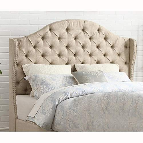 Tufted Wingback Beige Linen Upholstered King Headboard with Nailheads Traditional Fabric Padded by Unknown