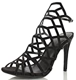 Wild Diva Womens Berlin 30 Peep Toe Cage Cut Out Slingback High Heel