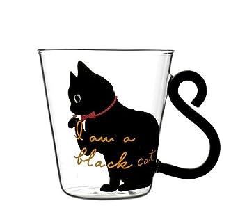 Compra SHINIQ Taza Café Taza Gatos Manija Cola Copa Leche Vidrio 250ML Resistente Calor Taza Amantes Amantes Lindo Regalo De Cumpleaños (Color : Black) en ...