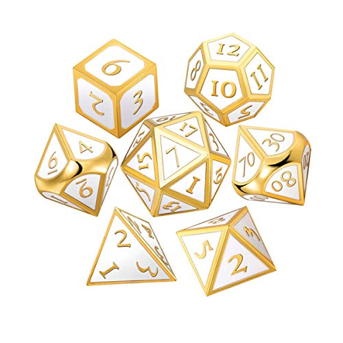 UONUOT 7pcs DND Metal Dice Set with Black Pouches D&D Tabletop Games Embossed Heavy Polyhedral Metal Dice for Dungeons and Dragons Role Playing Games RPGs/DND/Set,Math Teaching(Gold Elegant White)