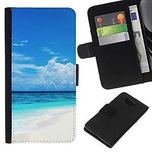 All Phone Most Case / Oferta Especial Cáscara Funda de cuero Monedero Cubierta de proteccion Caso / Wallet Case for Samsung ALPHA G850 // Caribbean White Sand Paradise Beach