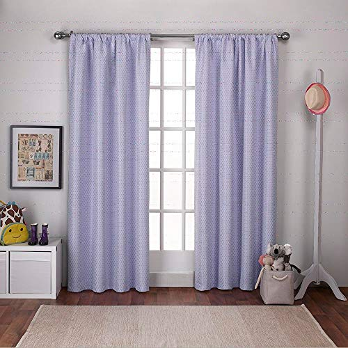 Exclusive Home Curtains Polka Dot Jacquard Blackout Window Curtain Panel Pair with Rod Pocket, 54x96, Lilac Purple, 2 Piece
