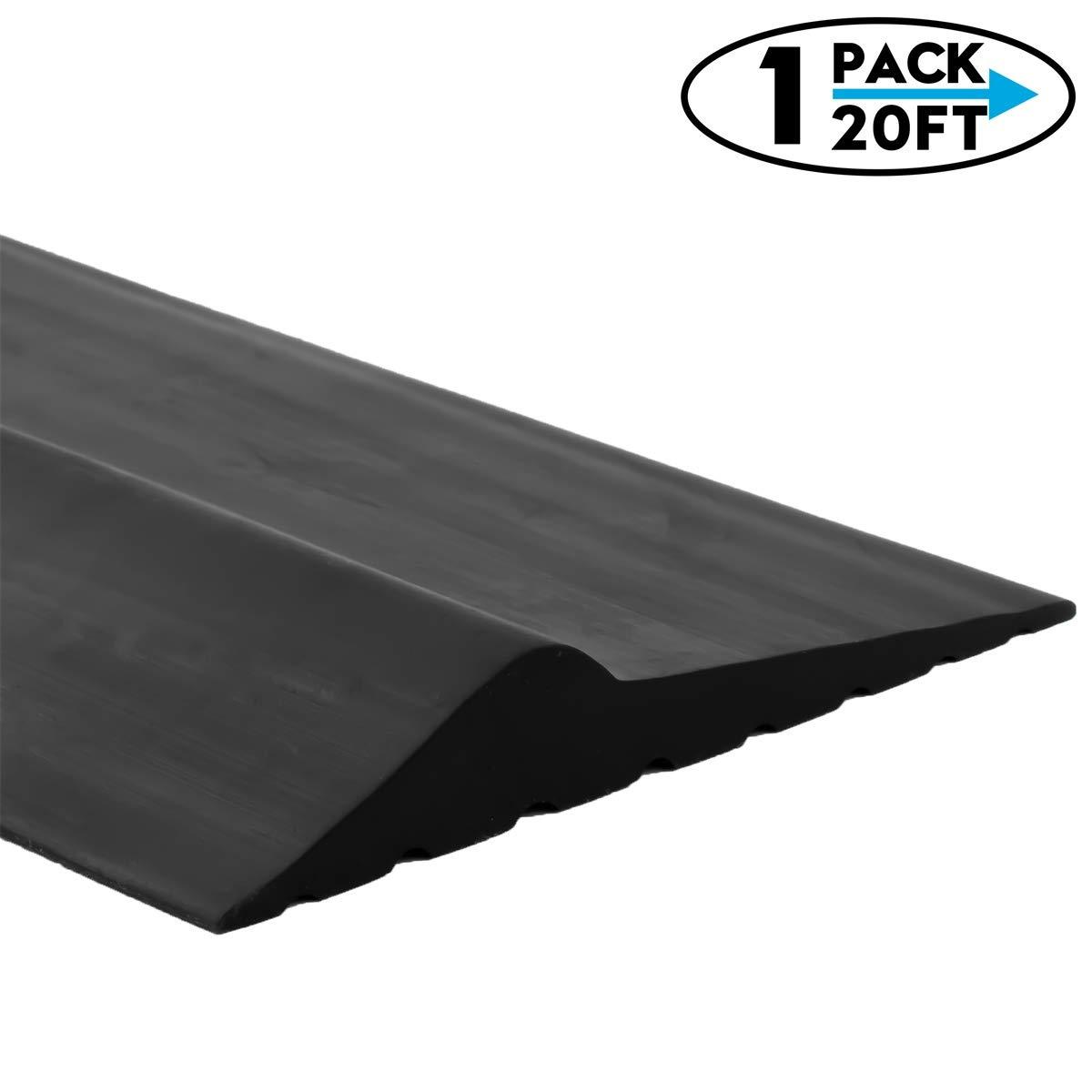 Weatherproof Universal Garage Door Bottom Threshold Seal Strip DIY Weather Stripping Replacement,Not Include Sealant/Adhesive (20Ft, Black) by CloudBuyer