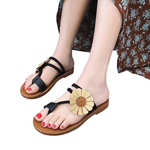 BURFLY Women Flower Flat Heel Sandals Slipper Fashion Ladies Summer Anti Skidding Beach Flip-Flop Shoes Ladies Elegant Open-Toe Shoes For Women Girls Black
