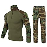 LiliChan Mens Long Sleeve Tactical Military T-Shirt Outdoor Shirt Combat Shirt with Zipper (L, Jungle Set)