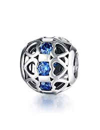 Sterling Silver Charm Beads with 4A Cubic Zircona Fit for Pandora Bracelets Best Gift for Family/Friends