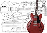 Plan of Gibson ES-355 Hollow Body Electric Guitar - Full Scale Print