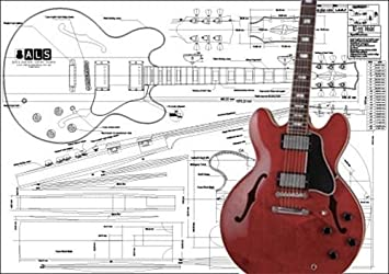 plan of gibson es 355 hollow body electric guitar full scale print rh amazon co uk Gibson Humbucker Wiring-Diagram Gibson Flying V Wiring Diagram
