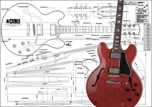 (Plan of Gibson ES-355 Hollow Body Electric Guitar - Full Scale Print )