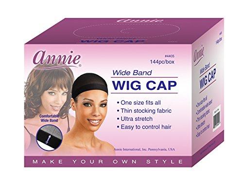 Annie Wide Band Wig Cap, Black, 144 Count]()