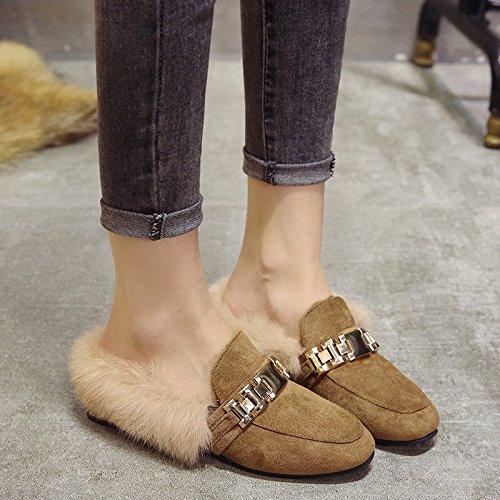 LaxBa Lhiver au chaud, lhiver Chaussons Chaussons moelleux Accueil chaleureux en hiver, chaussures antiglisse Chambre Chaussons Matte - brown36