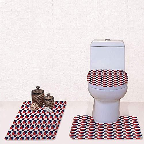 Comfort Flannel 3 Pcs Bath Rug Set,Contour Mat Toilet Seat Cover,Abstract Colorful Figures with Half Circles Rounds Artwork Image with Navy Blue Red and White,Decorate Bathroom,Entrance Door,Kitchen,