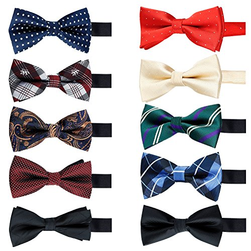 10 Pcs Elegant Pre-tied Bow ties Formal Tuxedo Bowtie Set with Adjustable Neck Band,Gift Idea For Men And Boys (10Pcs5)