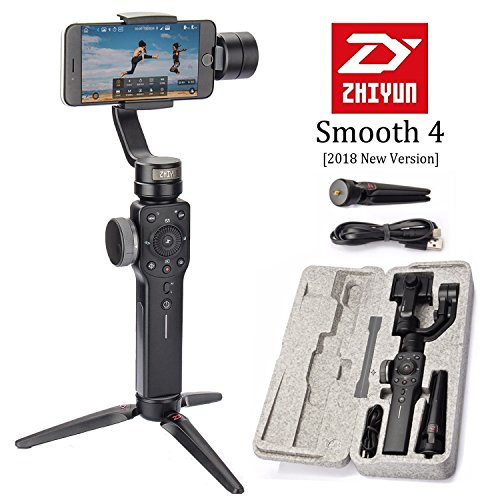(Zhiyun Smooth 4 3-Axis Handheld Gimbal Stabilizer, Upgraded Phone Camera Video Tripod w/Focus Pull&Zoom Vertigo Shot for iPhone Xs Max X/8 Plus/7/SE Samsung Galaxy S9+/S8/S7/S6 etc Smartphones(Black))