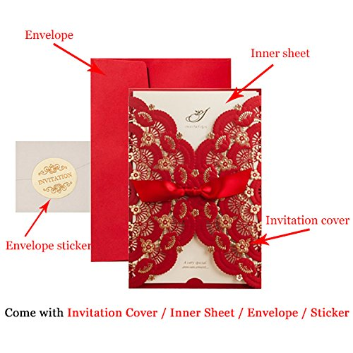 Red Lace Flower Invitation Cards Laser Cut Hollow-out Floral with Ribbon Bow Wedding Announce Invitations CW5113 (100) by Wishmade (Image #6)