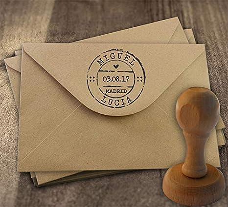 Sello para Boda Personalizado + Tinta | Matasellos Carta: Amazon.es: Hogar