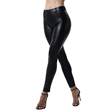0f9639f20a291 YOFIT Sexy Women Stretch High Waist Pants with Pockets Push Up Skinny  Leather Leggings Wet Look