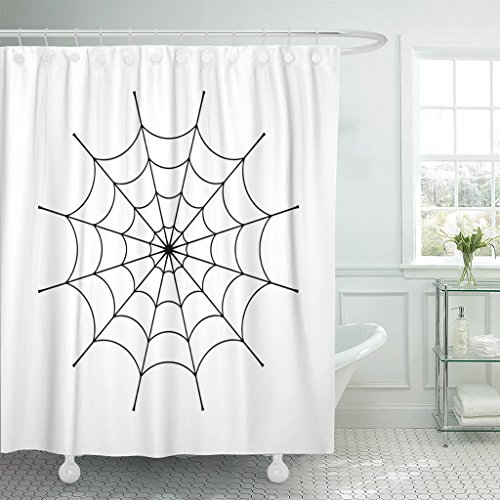 Emvency Fabric Shower Curtain Curtains with Hooks Spider Clip Black Cobweb White Spiderweb Silhouette Graphic Symbol of Halloween Network Trap and Danger Scary 72