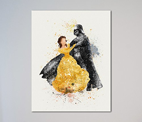 Print Gift Home Decor - Star Wars Darth Vader and Belle Beauty and the Beast 11