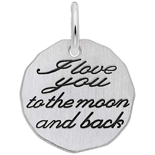 Rembrandt Charms, Moon and Back.925 Sterling Silver, Engravable