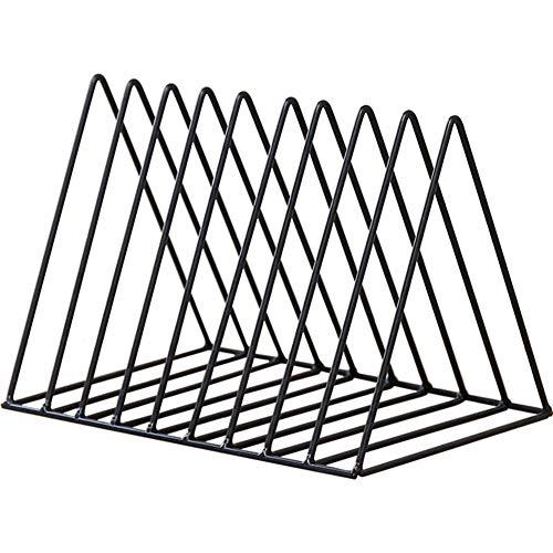 DENTRUN Triangle File Sorter Organizer Wire Collection 9 Slot Desktop Iron Storage Rack Bookshelf Art Magazine Holder for Bedroom Living Room Home OfficeDecoration