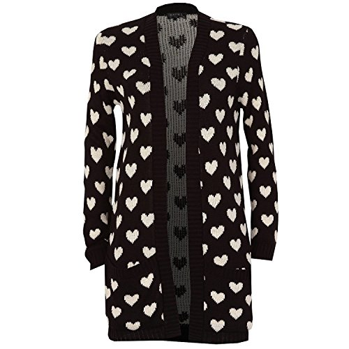 Forever Womens Aztec Tribal Leopard And Heart Print Knitted Boyfriend Cardigan Black Heart Cardigan