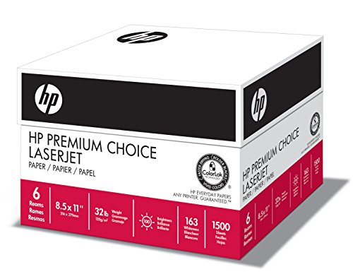 HP Paper, Premium Choice Laserjet, 32lb, 8.5x11, Letter, 100 Bright, 1,500 Sheets / 6 Ream Case, Made In The USA