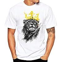 Han Shi Blouse, Fashion Men T-Shirt Lion Print Plus Size Short Shirt Vest Tank